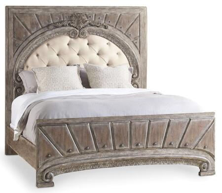 True Vintage Collection 5701-90860 California King Upholstered Panel Bed in Driftwood Finish/Cream