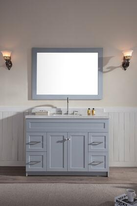 F049SWQGRY Ariel Hamlet 49 inch  Single Sink Vanity Set with White Quartz   Two Doors and Four Drawers in