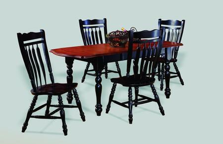 Sunset Selections Collection DLU-TDX3472-C10-AB5PC 5 Piece Drop Leaf Extension Dining Set with Rectangular Table + 4 Aspen