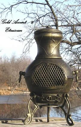 ALCH028GA Etruscan Chiminea Outdoor Fireplace in Gold