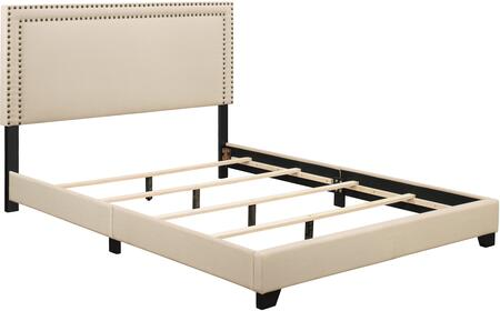 Ds-a123-290-104 84 Fabric Upholstered All-in-one Queen Sized Bed With Nail Head Accents In