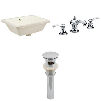 AI-12993 18.25-in. Width x 13.5-in. Diameter CUPC Rectangle Undermount Sink Set In Biscuit With 8-in. o.c. CUPC Faucet And