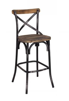 Zaire 96640 29 inch  Bar Chair with Chinese Fir Wood Seat   inch X inch  Back Design and Antique Steel Spray Painting Legs in Walnut and Antique Black