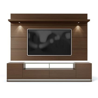 "Vanderbilt and Cabrini 2.2 Collection 2-1755182351 85"" TV Stand and Floating Wall TV Panel with a LED Light 5 Shelves and 2 Drawers in Nut thumbnail"