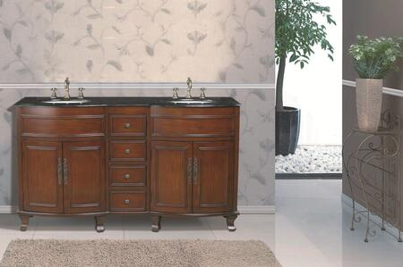 GM-3316-62-BG 62 inch  Winslow Double Sink Vanity with Black Galaxy Granite