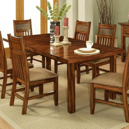 212001 Marissa County Dining Table Top & Base with Solid Cherry Wood Construction and Table Top with Self Storing Leaves and Cable Glider Mechanism in a Cumin