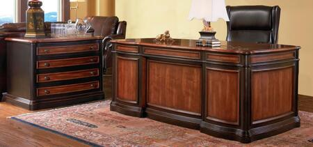 Pergola 80051114 Home Office Set with Executive Desk + File Cabinet in Espresso and Brown Red