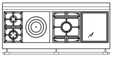 165 US L3 Cooktop Configuration with 2 Burners  French Top  Power Burner and Electric