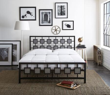 Lydia Collection MFP02653QN Queen Size Platform Bed with Metal Frame and Modern Style in Black and