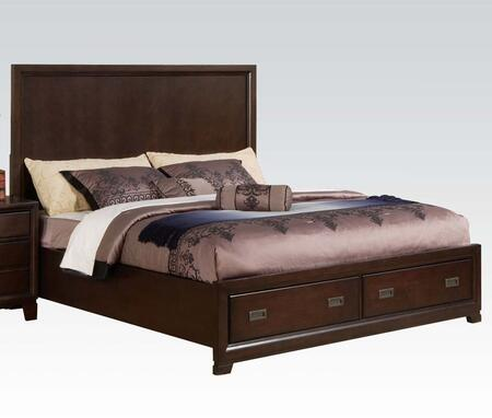Bellwood Collection 00157EK Eastern King Size Panel Bed with Storage Drawers  Decorative Antique Brass Hardware  Dovetail French Front and English Back Drawers