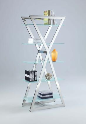 74105-BKS Clear Glass with Frost-Like Painted 5 Glass Shelf-Tempered with Stainess Steel 694132