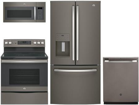4-Piece Slate Kitchen Package with GFE24JMKES 33 French Door Refrigerator  JB655EKES 30 Freestanding Electric Range   JVM6175EKES 30 Over the