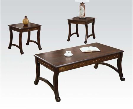 Belita Collection 80162 3 PC Living Room Table Set with 2 End Tables  Coffee Table  Nail Head Accents and Supporting Stretchers in Dark Oak