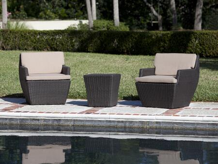 Bel Cubo Square Wicker Bistro Set with 2 All-weather Wicker Chairs  Outdoor Cushions and Side Table in