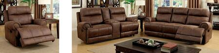 Kellie Collection CM6281-SLR 3-Piece Living Room Set with Motion Sofa  Motion Loveseat and Recliner in