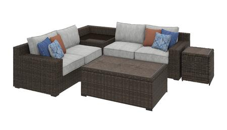 Alta Grande Collection P782-3PSEC-CTET Patio Set with 3PC Sectional Sofa  Cocktail Table and End Table in Brown and