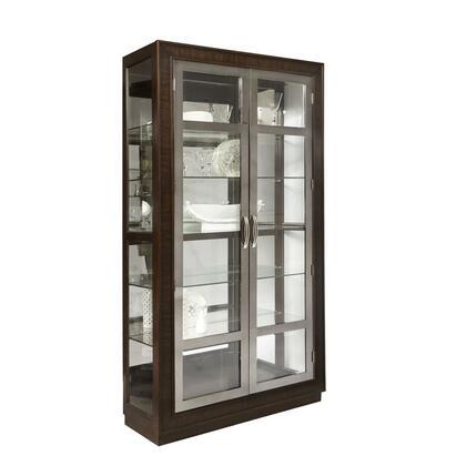 P021609 Modern Nickel Framed Double Door Display Cabinet In