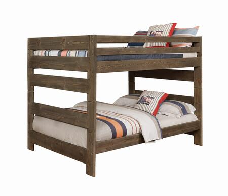 Wrangle Hill Collection 400833 Full Size Bunk Bed with Full Length Guardrails  Clean Line Design and Solid Pine Wood Construction in Gun
