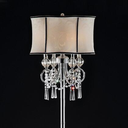 Juliana L95131F Floor Lamp with Crystal lamp  Metal base with polished chrome finish  Shade size: 18