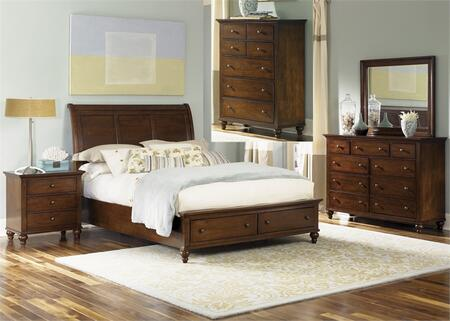 Hamilton Collection 341-br-qsbdmcn 5-piece Bedroom Set With Queen Storage Bed  Dresser  Mirror  Chest And Night Stand In Cinnamon