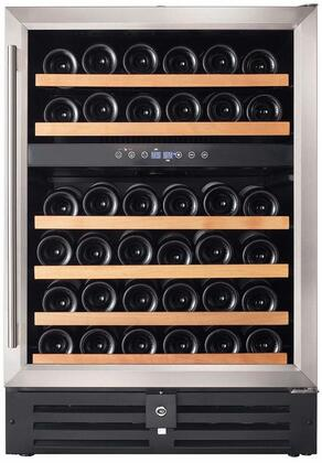 RW145DR 24 inch  Dual Zone Wine Refrigerator with 46 Bottle Capacity  Wood Accented Shelves  Digital Thermostat and UV Protected Double Pane Glass Door with