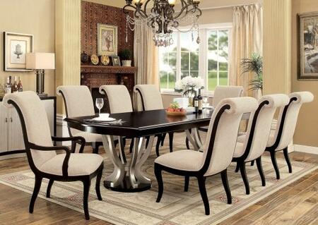 Ornette Collection CM3353T6SC2AC 9-Piece Dining Room Set with Rectangular Table  6 Side Chairs and 2 Arm Chairs in Espresso & Champagne