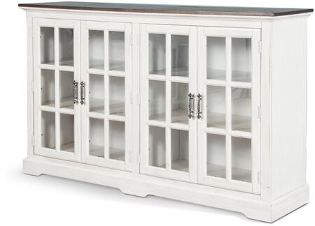 Carriage House Collection 1973EC 69 Server with 4 Windowpane Style Glass Doors  Antique Metal Pulls  Adjustable Shelves and Wood Construction in European