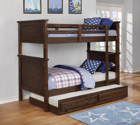 Dalton Collection 460555-TRUND Twin Size Bunk Bed with Trundle  Built-In Ladder  Subtle Molded Detailing and Sturdy Wood Construction in Country