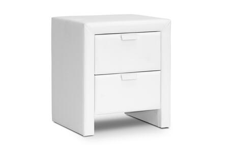 BBT3089-WHITE-NS Baxton Studio Frey Upholstered Modern Nightstand  In
