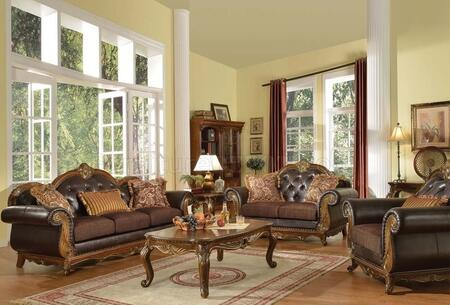 Dorothea 51590SLC 3 PC Living Room Set with Sofa + Loveseat + Chair in Cherry