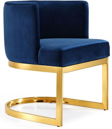 Gianna Collection 718Navy-C 19 inch  Dining Chair with Plush Velvet Upholstery  Gold Stainless Steel Base and Barrel Back Design in