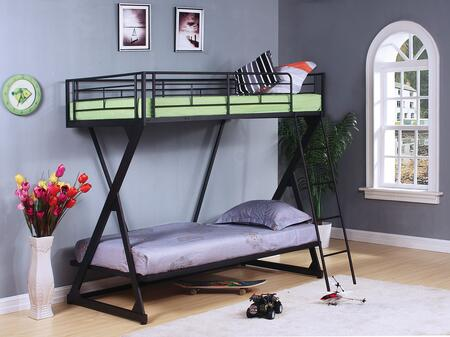Zazie Collection 37130 Twin Over Twin Size Bunk Bed with Slat System Included  Reversible Ladder  Easy Access Guardrail and Steel Tube Material in Sandy Black