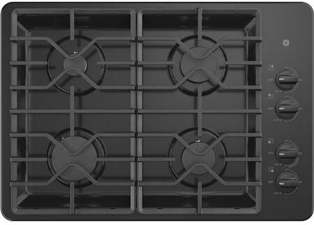 GE JGP3530DLBB 30 Inch Gas Max System, Power Boil, Simmer, Continuous, Dishwasher Safe Grates, Deep Recessed Cooktop, 4 Sealed Burners and ADA Compliant