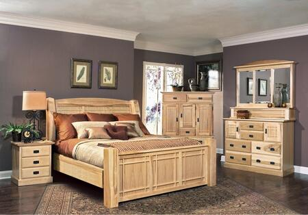 AHINT5170K6P Amish Highlands 6-Piece Bedroom Set with Arch Panel King Bed  Chest  Dresser  Mirror and Two