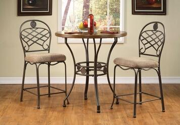 Tavio Collection 9606857 2 PC Bar Table Set with Counter Height Table + 2 Counter Height Chairs in Walnut and Dark Bronze
