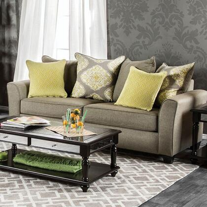 Macroom Collection Sm3055-sf 87 Sofa With Loose Back Pillows  Fabric Upholstery  Flared Arms And Tapered Legs In