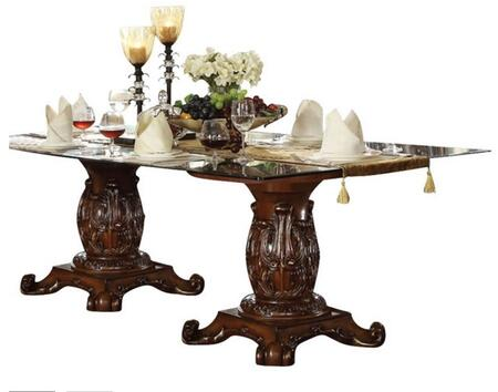 Vendome Collection 62005 96 inch  Dining Table with 12mm Clear Tempered Beveled Glass Top  Double Pedestal Base  Carved Details  Aspen and Poplar Wood Construction