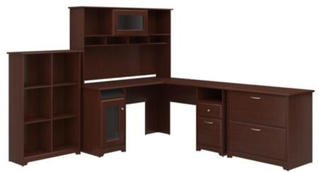Cabot WC31430-03K-31-65-80 3-Piece Desk and Hutch Set with 6 Cube Bookcase and Lateral File Cabinet in Harvest