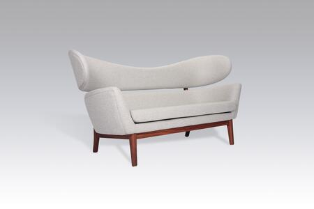 Delos FB2419LGREYA Sofa with Wood Base  Stitched Detailing and Fabric Upholstery in Light