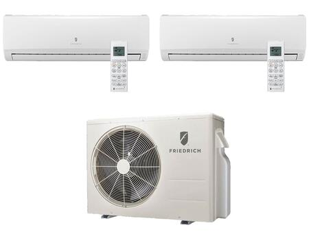 Multi-Zone Ductless Split System for 2 Rooms  with 17 000 BTUs  Inverter Technology  4-Way Auto Swing  Heat Pump  19.0 SEER  12.8 EER  and R410A