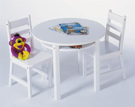 524W Lipper Child's Round Table with Shelf and 2 Chairs in White