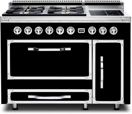 """TVDR480-4IGB 48"""" Tuscany Series Professional Dual Fuel Range with 4 Sealed Burners and 2 Induction Elements  Dual Ovens and Storage Drawer  in Graphite"""