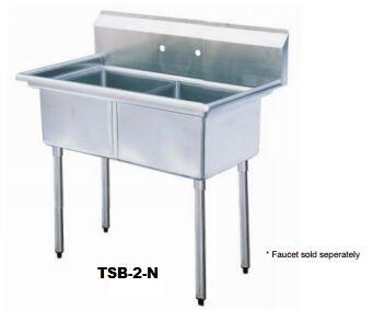 TSB-2-N Drain Board 54 inch W Two Compartment Sink with Swirl Away Bowl Drainage and Adjustable ABS Bullet Feet in Stainless