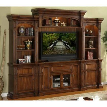 ZG-B1100-TBBB Berkshire 4 Piece Entertainment Center Set with TV Stand  Two Side Bookcases  Back Panel and Top Bridge  in Old World