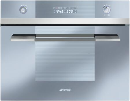 Smeg SCU45VCS1 24 Linea Series Built-In Speed Wall Oven with 1000 Watt Microwave True European Convection 10 Cooking Modes Stainless Steel Cavity and Digital LED Display in Stainless