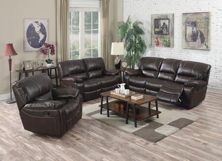 Kimberly Collection 52130SLR 3 PC Living Room Set with Sofa + Loveseat + Recliner in Brown