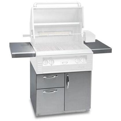 AL-30CD 30 Freestanding Deluxe Grill Cart with Single Access Door  Double Access Drawers  Stainless Steel Construction  2 Side Shelves  and Caster Wheels in