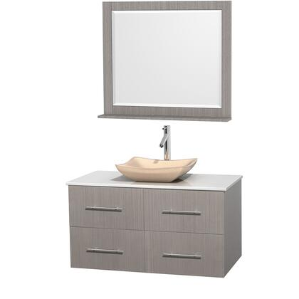 Wcvw00942sgowsgs2m36 42 In. Single Bathroom Vanity In Gray Oak  White Man-made Stone Countertop  Avalon Ivory Marble Sink  And 36 In.