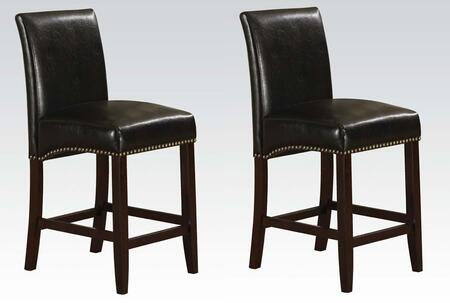 Jakki Collection 96169 Set of 2 24 inch  Counter Height Chairs with Nail Head Trim  Footrest  Wood Frame and Bycast PU Leather Upholstery in Black