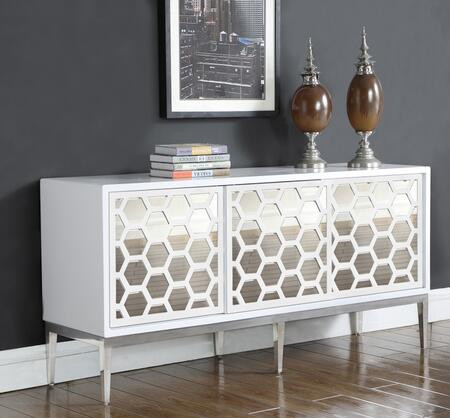 "Zoey Collection 303 69"" Sideboard with Honeycomb Design  Stainless Steel Base and Sliding Doors with Mirrored Front in White"